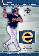 2001 Upper Deck Evolution e-Card Game Bat #BJaG Jason Giambi