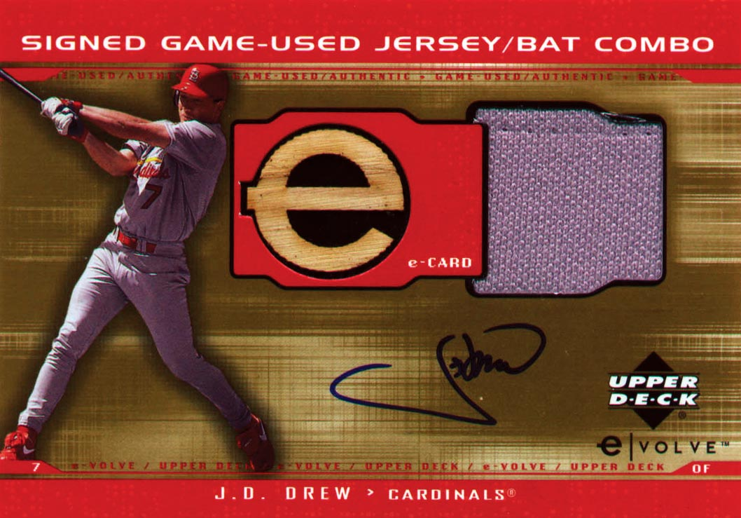 2001 Upper Deck Evolution e-Card Game Bat-Jersey Autograph #JBJD J.D. Drew