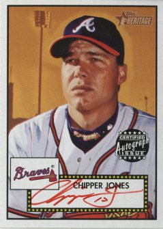2001 Topps Heritage Autographs Red Ink #THACJ Chipper Jones