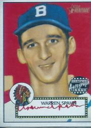 2001 Topps Heritage Autographs Red Ink #THAWS Warren Spahn