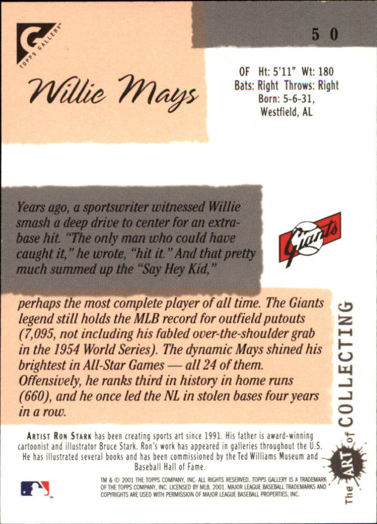 2001 Topps Gallery #50 Willie Mays HTA back image