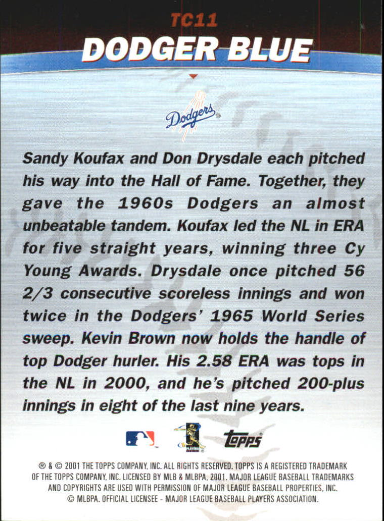 2001 Topps Combos #TC11 Dodger Blue back image