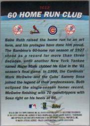 2001 Topps Combos #TC12 60 Home Run Club back image