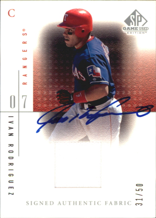 2001 SP Game Used Edition Authentic Fabric Autographs #SIR Ivan Rodriguez