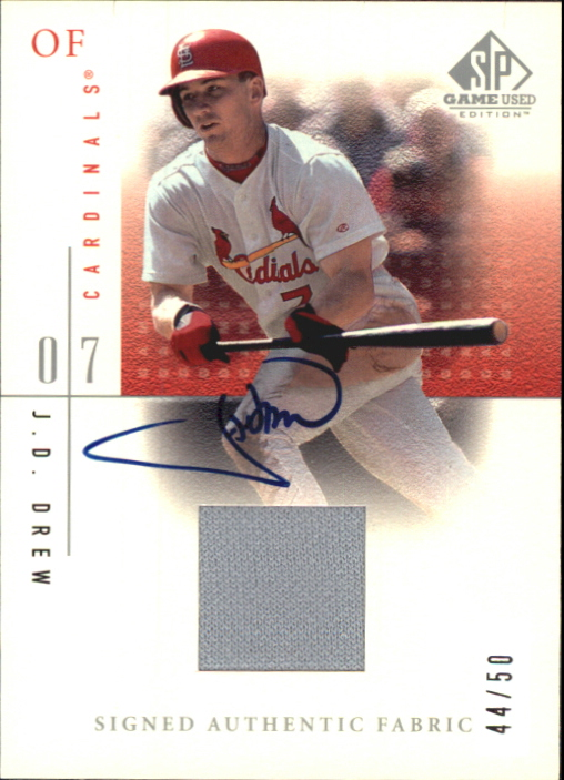 2001 SP Game Used Edition Authentic Fabric Autographs #SJDR J.D. Drew