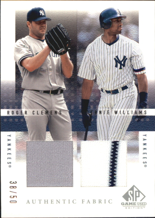 2001 SP Game Used Edition Authentic Fabric Duos #CW Roger Clemens/Bernie Williams