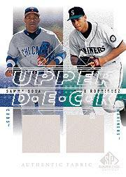 2001 SP Game Used Edition Authentic Fabric Duos #SR Sammy Sosa/Alex Rodriguez