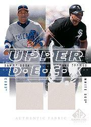 2001 SP Game Used Edition Authentic Fabric Duos #ST Sammy Sosa/Frank Thomas