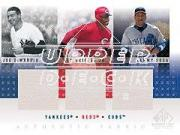 2001 SP Game Used Edition Authentic Fabric Trios #DGS Joe DiMaggio/Ken Griffey Jr./Sammy Sosa