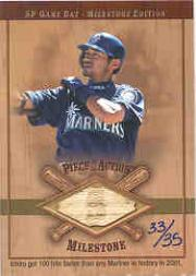 2001 SP Game Bat Milestone Piece of Action Milestone Gold #IS Ichiro Suzuki