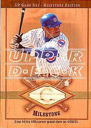 2001 SP Game Bat Milestone Piece of Action Milestone Gold #SS Sammy Sosa