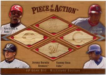 2001 SP Game Bat Milestone Piece of Action Quads #GDBS Griffey/Drew/Burn/Sosa