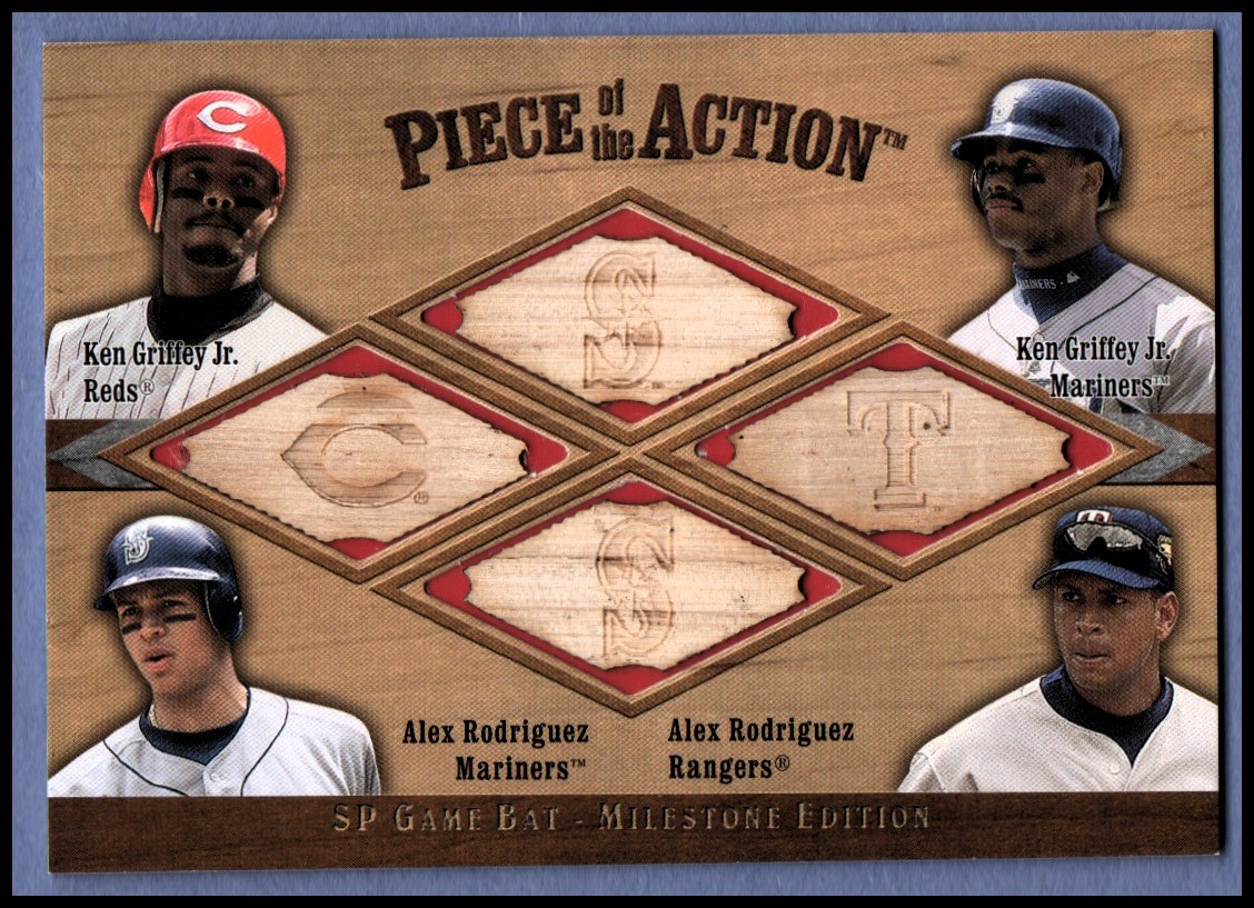 2001 SP Game Bat Milestone Piece of Action Quads #GGRR Grif/Grif/A.Rod/A.Rod