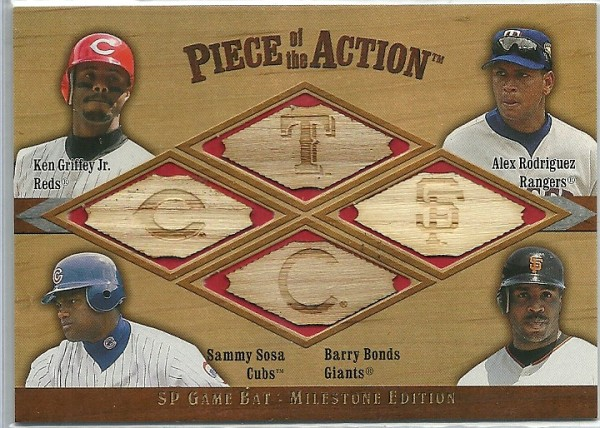 2001 SP Game Bat Milestone Piece of Action Quads #GRSB Ken Griffey Jr./Alex Rodriguez/Sammy Sosa/Barry Bonds