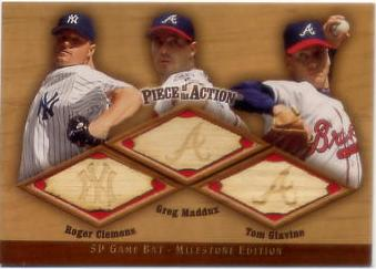 2001 SP Game Bat Milestone Piece of Action Trios #CMG Roger Clemens/Greg Maddux/Tom Glavine