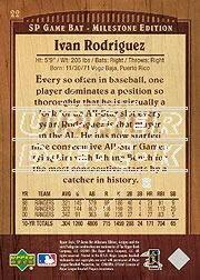 2001 SP Game Bat Milestone #22 Ivan Rodriguez back image
