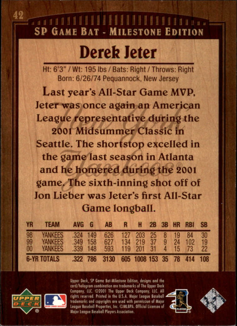 2001 SP Game Bat Milestone #42 Derek Jeter back image