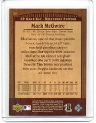 2001 SP Game Bat Milestone #55 Mark McGwire back image