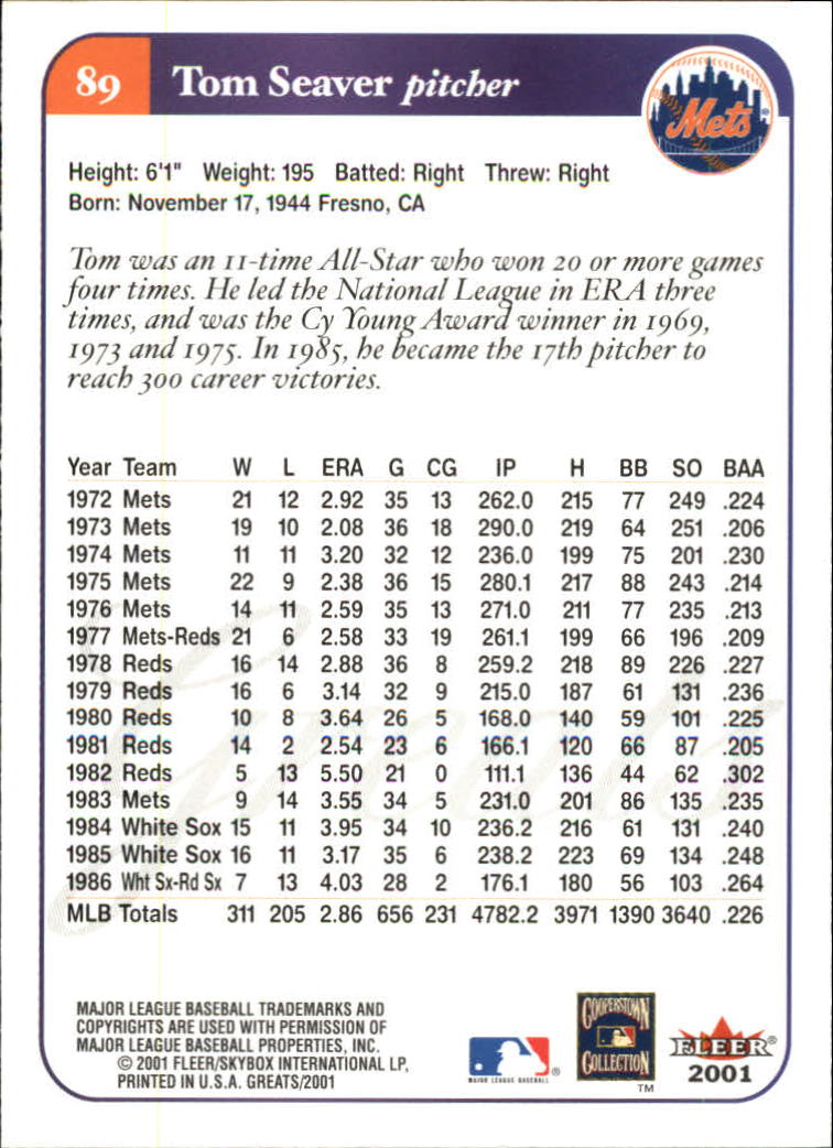 2001 Greats of the Game #89 Tom Seaver back image
