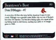 2001 Fleer Red Sox 100th #80 Dom DiMaggio BB back image