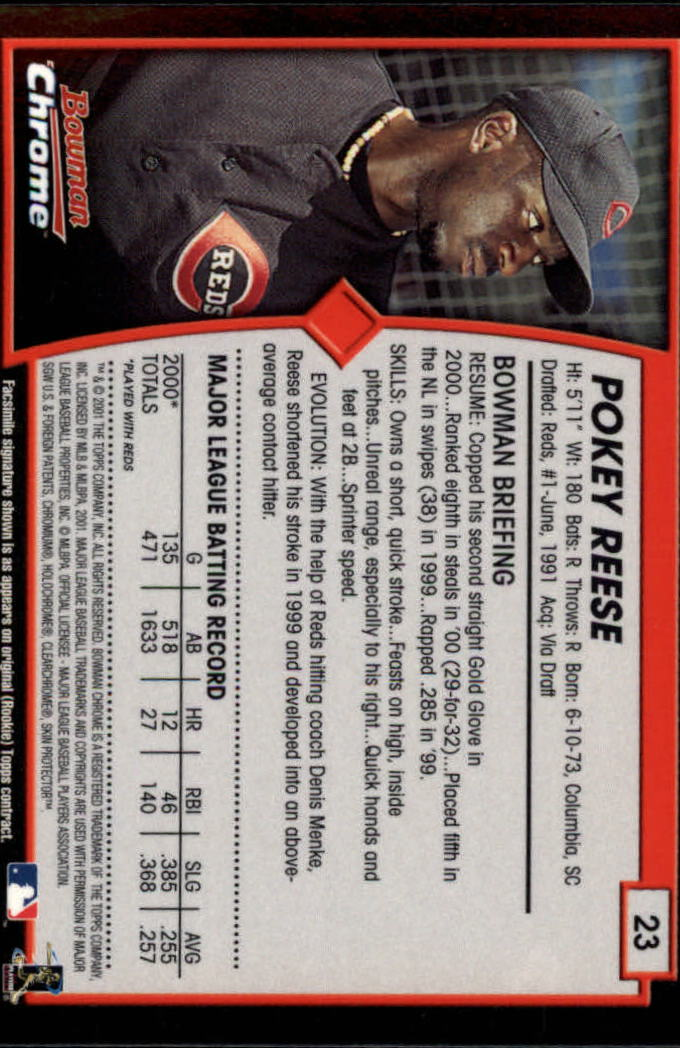 2001 Bowman Chrome #23 Pokey Reese back image