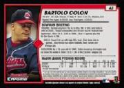 2001 Bowman Chrome #43 Bartolo Colon back image