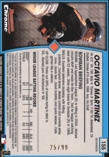 2001 Bowman Chrome Gold Refractors #155 Octavio Martinez