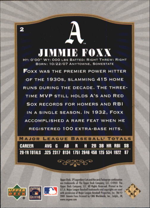 2001 SP Legendary Cuts #2 Jimmie Foxx back image