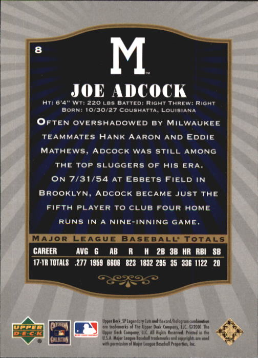 2001 SP Legendary Cuts #8 Joe Adcock back image