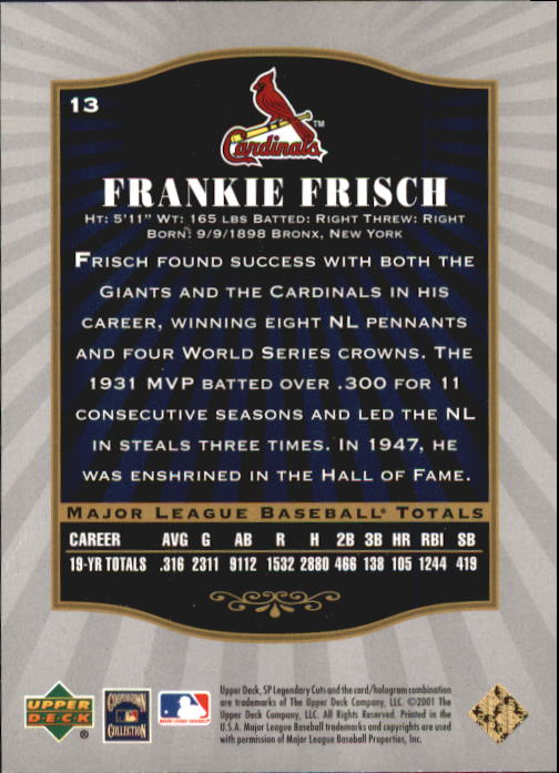 2001 SP Legendary Cuts #13 Frankie Frisch back image