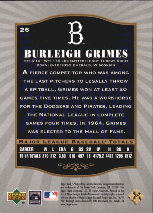 2001 SP Legendary Cuts #26 Burleigh Grimes back image