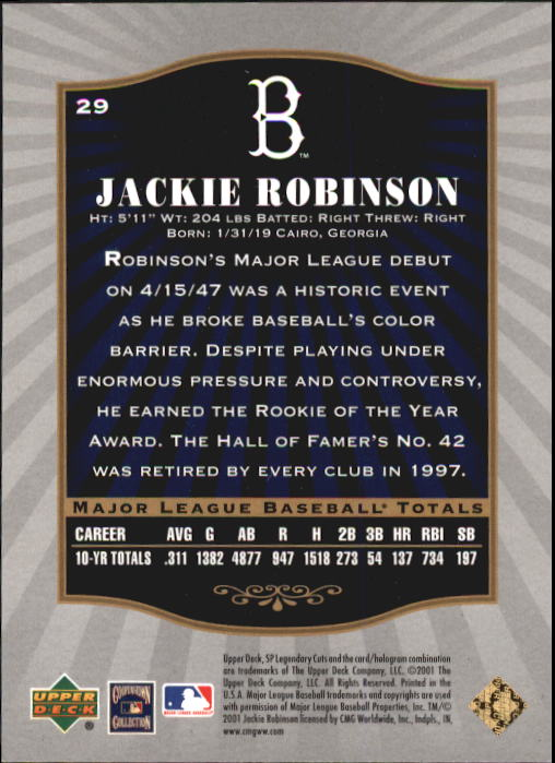 2001 SP Legendary Cuts #29 Jackie Robinson back image