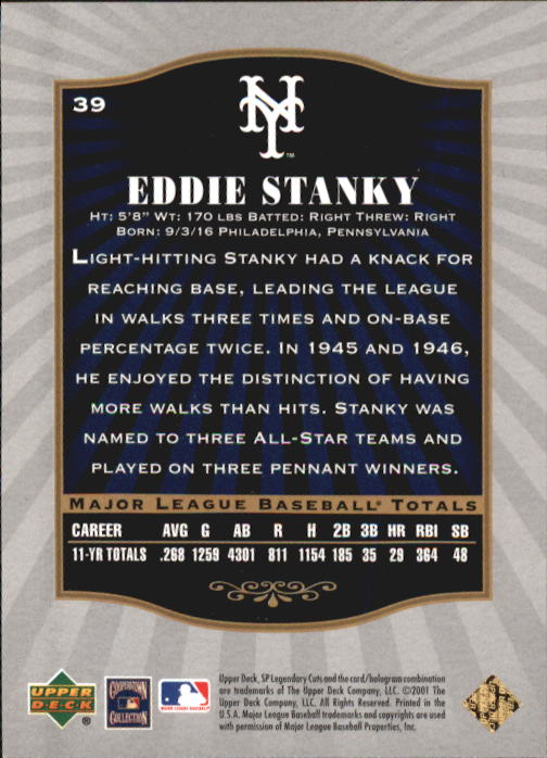2001 SP Legendary Cuts #39 Eddie Stanky back image