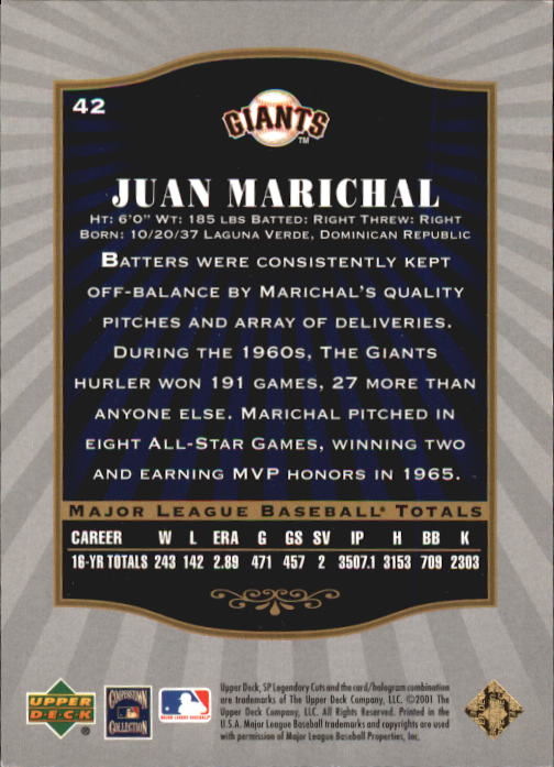 2001 SP Legendary Cuts #42 Juan Marichal back image