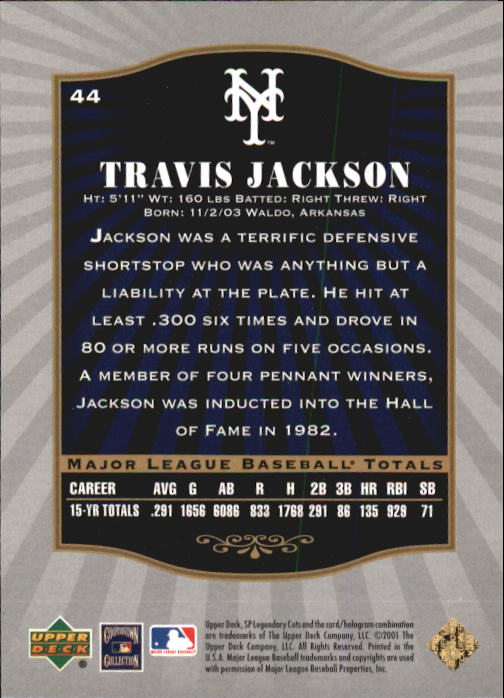 2001 SP Legendary Cuts #44 Travis Jackson back image