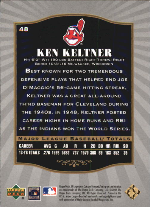 2001 SP Legendary Cuts #48 Ken Keltner back image