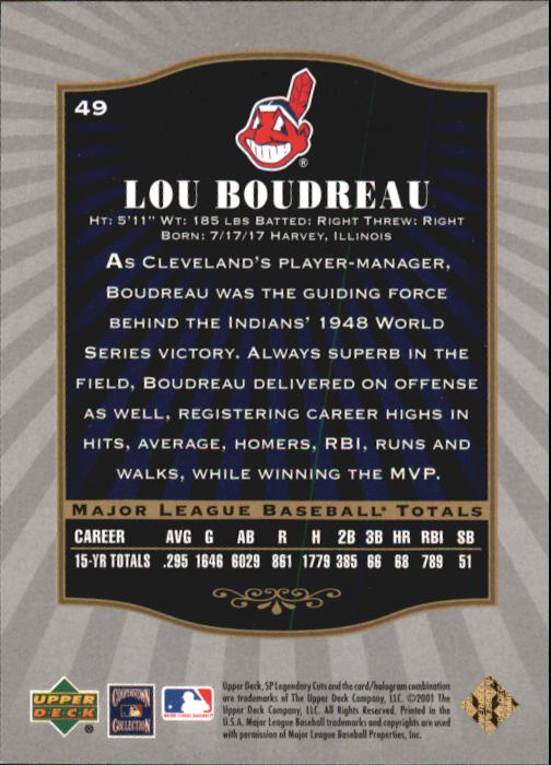 2001 SP Legendary Cuts #49 Lou Boudreau back image
