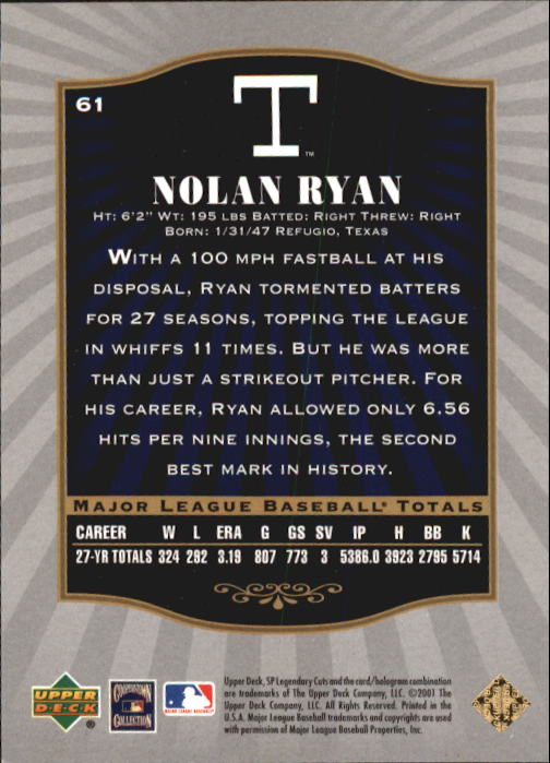 2001 SP Legendary Cuts #61 Nolan Ryan back image