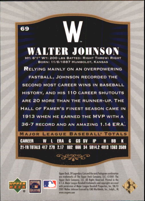 2001 SP Legendary Cuts #69 Walter Johnson back image
