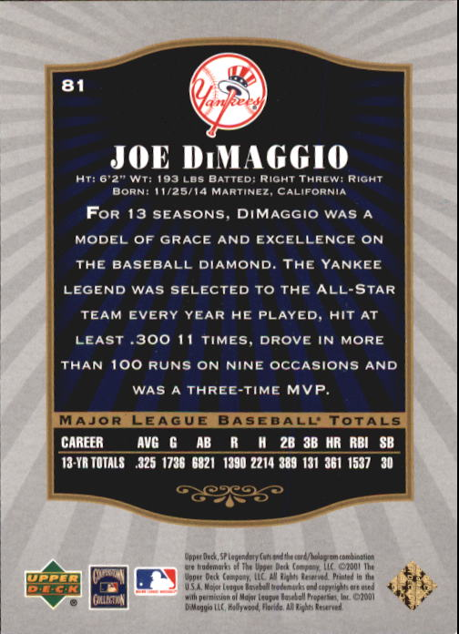 2001 SP Legendary Cuts #81 Joe DiMaggio back image
