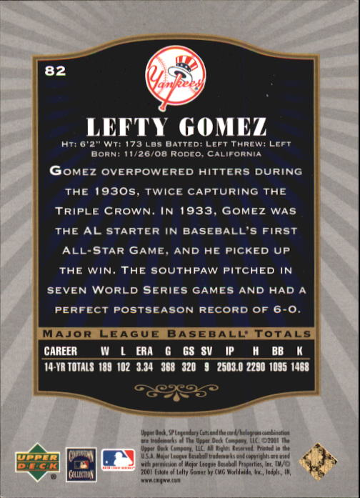 2001 SP Legendary Cuts #82 Lefty Gomez back image
