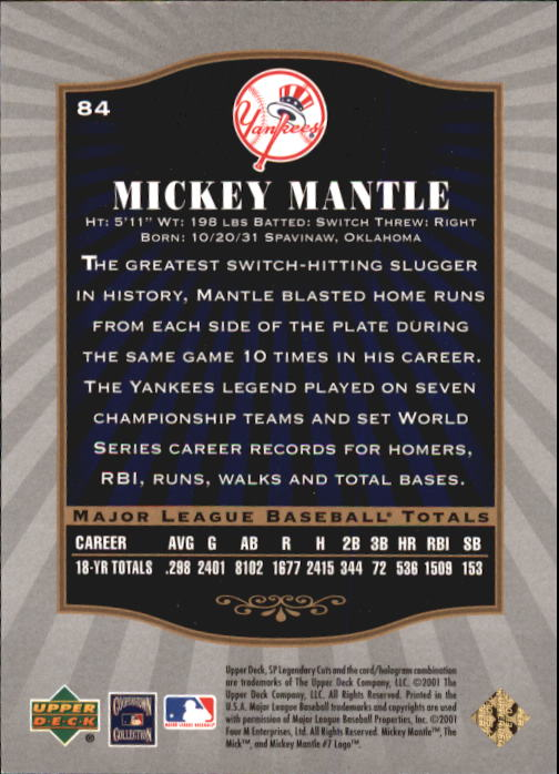 2001 SP Legendary Cuts #84 Mickey Mantle back image