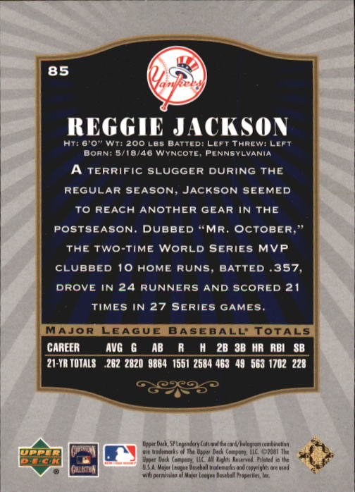 2001 SP Legendary Cuts #85 Reggie Jackson back image