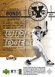 2001 SP Game Bat Edition Lumber Yard #Y6 Barry Bonds back image