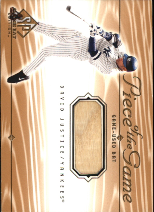 2001 SP Game Bat Edition Piece of the Game #DJ David Justice