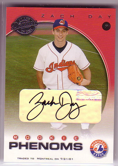 2001 Donruss Class of 2001 Rookie Autographs #224 Zach Day PH/200
