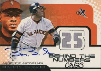 2001 E-X Behind the Numbers Game Jersey Autograph #7 Barry Bonds/25