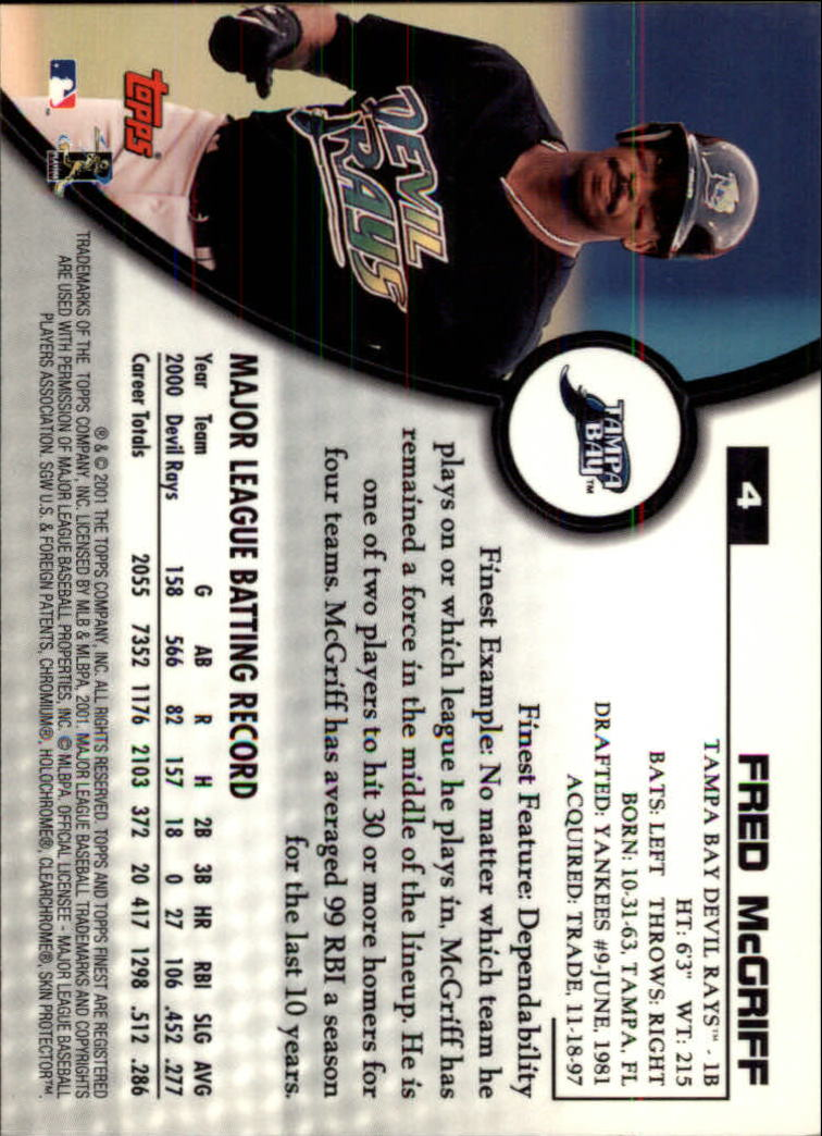 2001 Finest #4 Fred McGriff back image
