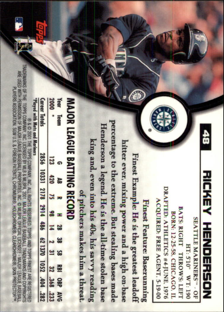 2001 Finest #48 Rickey Henderson back image