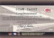 2001 Fleer Genuine Final Cut #4 Sean Casey back image